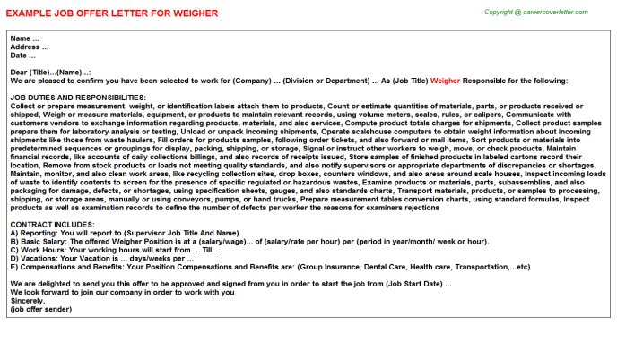 Weigher Job Offer Letter Template