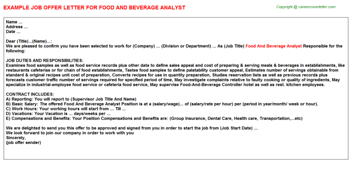 food and beverage analyst offer letter template