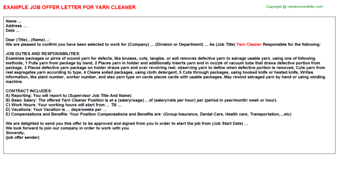 Yarn Cleaner Offer Letter Template