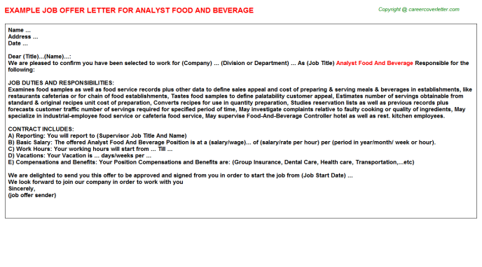 analyst food and beverage offer letter template