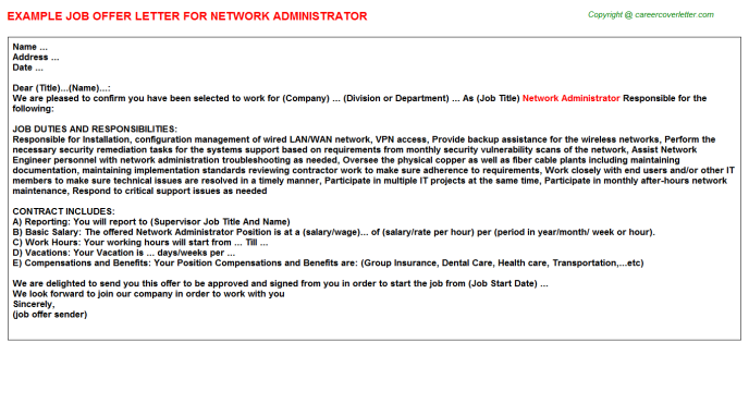 network administrator offer letter template