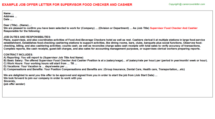 supervisor food checker and cashier offer letter template