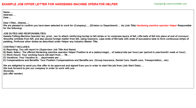 Hardening machine operator Helper Offer Letter Template