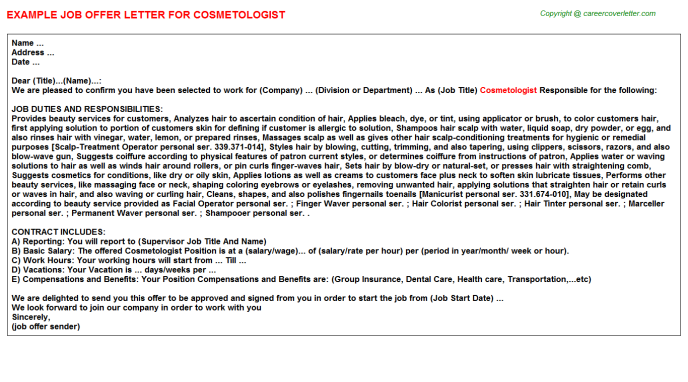 Cosmetologist Offer Letter Template
