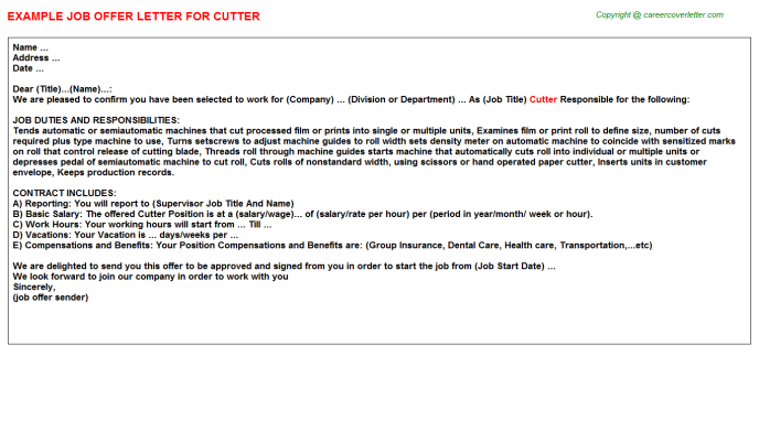 Cutter Job Offer Letter Template