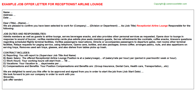Receptionist Airline Lounge Offer Letter Template