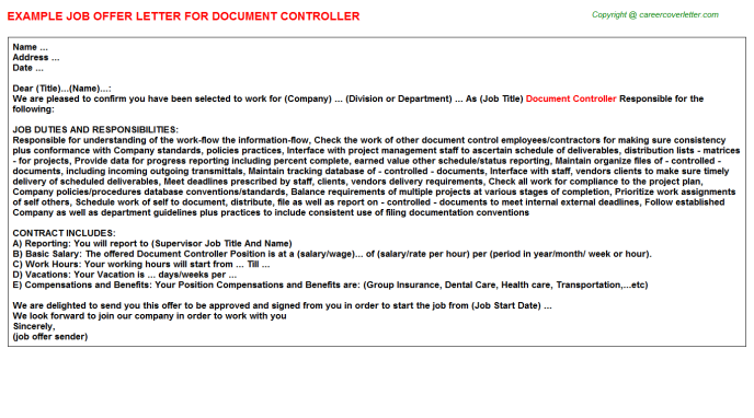 Document Controller Offer Letter Template