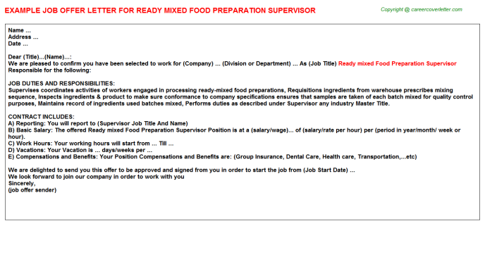 ready mixed food preparation supervisor offer letter template