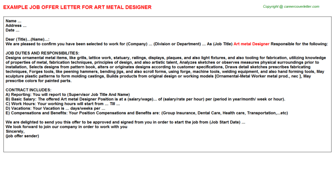 Art Metal Designer Offer Letter Template