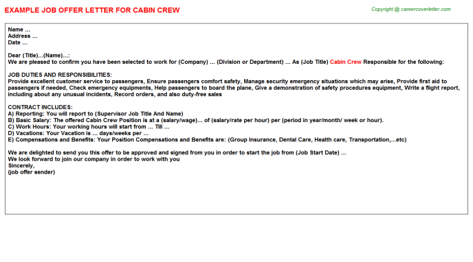 Cabin Crew Offer Letter Template
