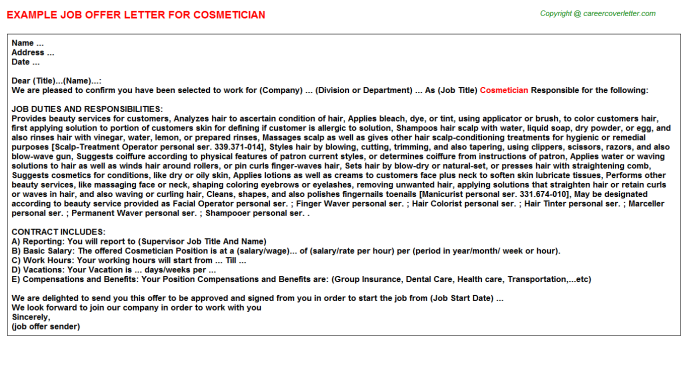 Cosmetician Offer Letter Template