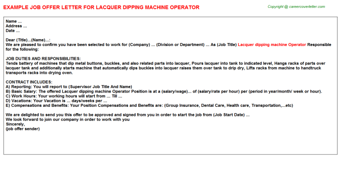 lacquer dipping machine operator offer letter template