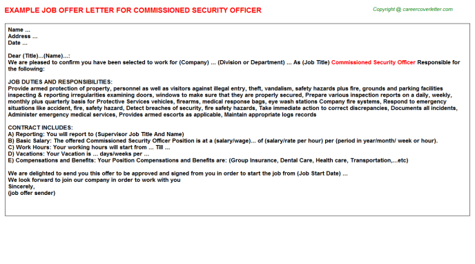Commissioned Security Officer Offer Letters