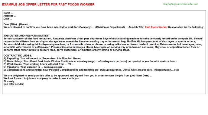 fast foods worker offer letter template
