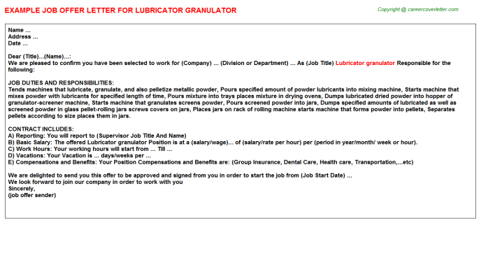 lubricator granulator offer letter template