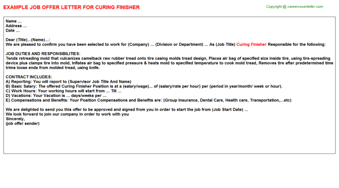 Curing Finisher Offer Letter Template