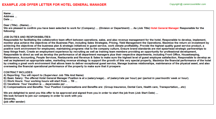 Hotel General Manager Offer Letter Template