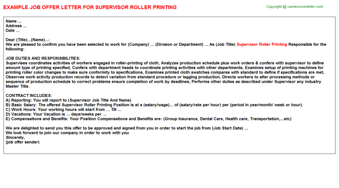 Supervisor Roller Printing Offer Letter Template