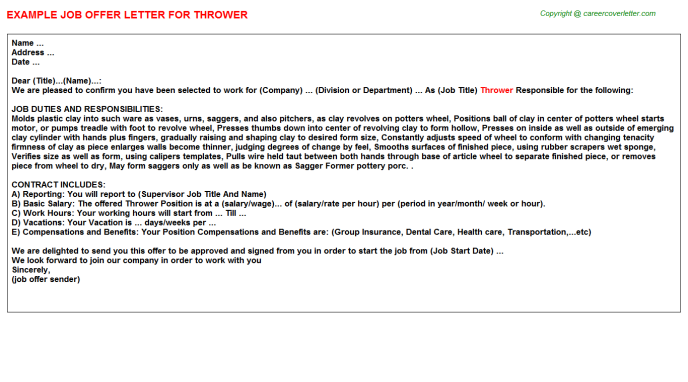 Thrower Offer Letter Template