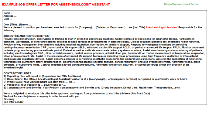Anesthesiologist Assistant Offer Letter | Job Offer Letters