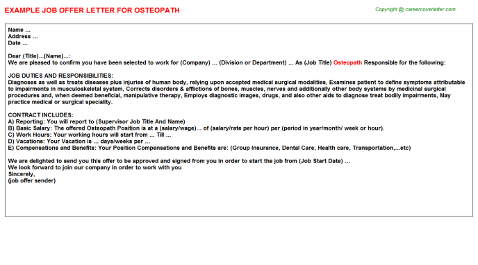 Osteopath Offer Letter Template
