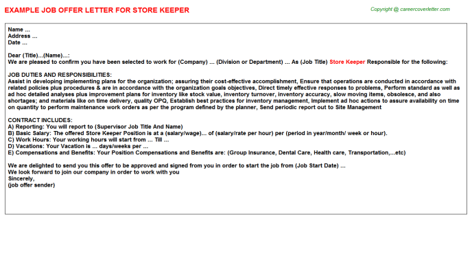 Store Keeper Offer Letter Template