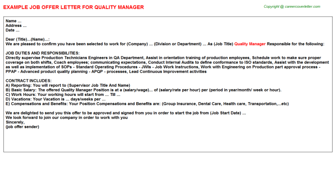 Quality Manager Offer Letter Template