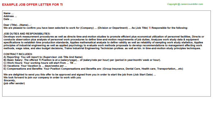Ti Job Offer Letter Template