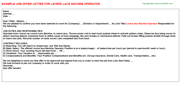 Levers lace Machine Operator Offer Letter Template
