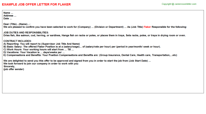 Flaker Job Offer Letter Template