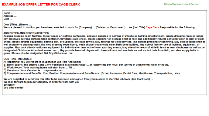Cage clerk job offer letter (#5354)