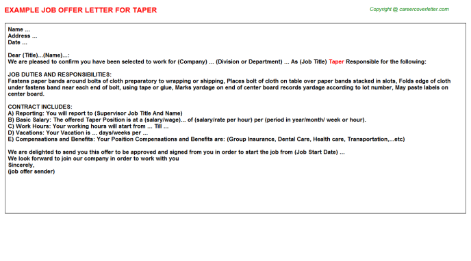 Taper Job Offer Letter Template