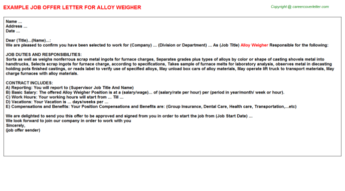 alloy weigher offer letter template