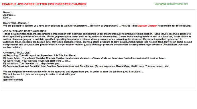 Digester Charger Job Offer Letter Template