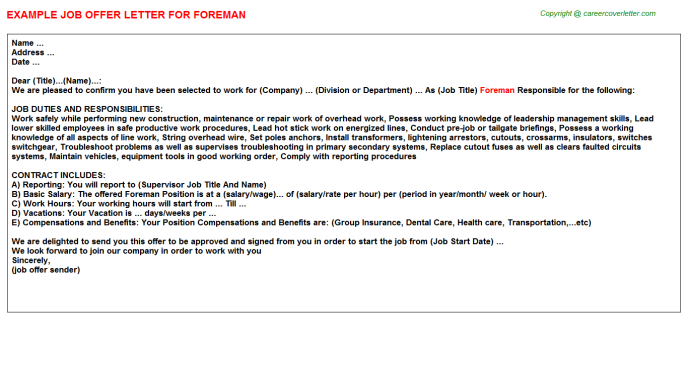 Foreman Job Offer Letter Template