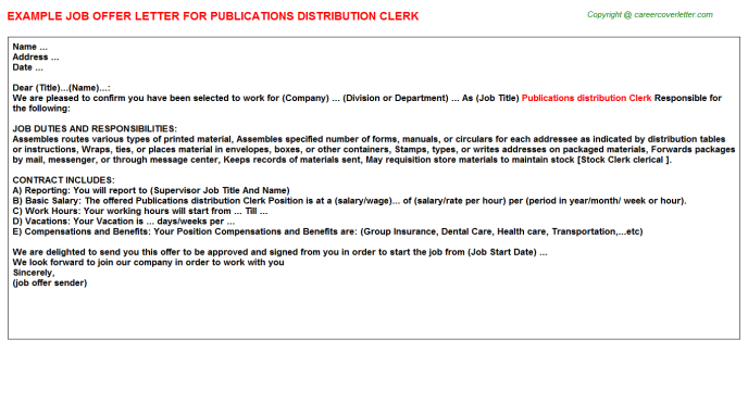 Publications distribution clerk job offer letter (#3861)