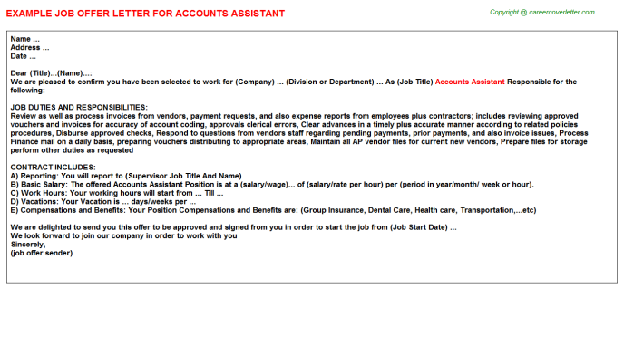 Accounts Assistant Job Offer Letter Template