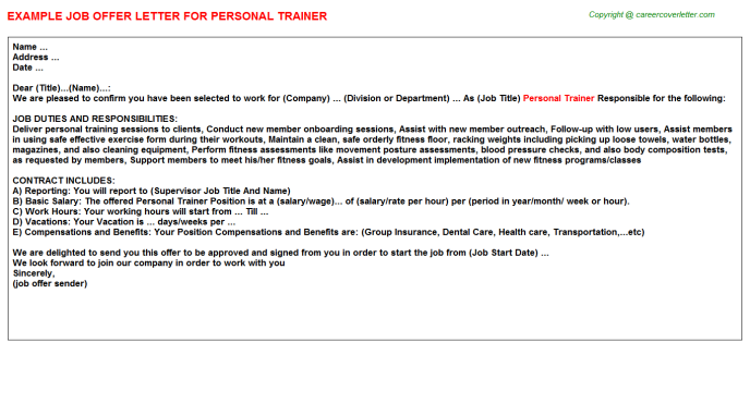 Fitness Personal Trainer Job Offer Letters Examples