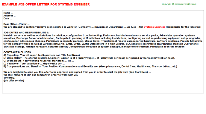 Systems Engineer Offer Letter Template
