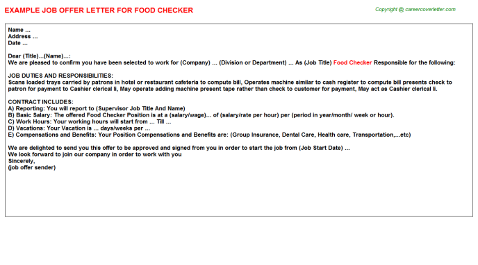 Food Checker Job Offer Letter Template