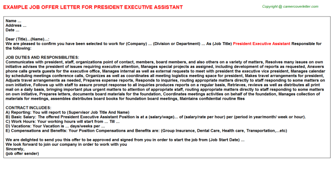 president executive assistant offer letter template