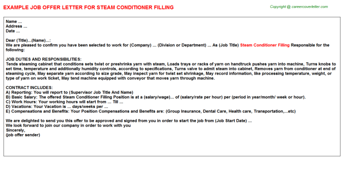 Steam Conditioner Filling Offer Letter Template