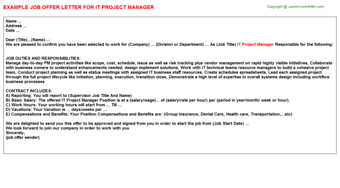 IT Project Manager Offer Letter Template