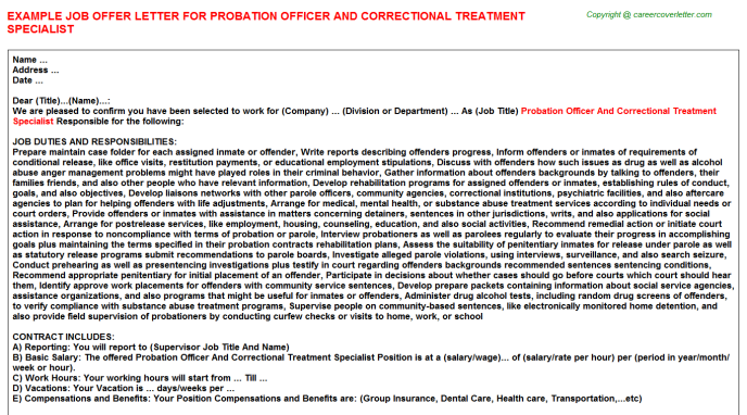 Probation Officer And Correctional Treatment Specialist Job Offer Letter Template