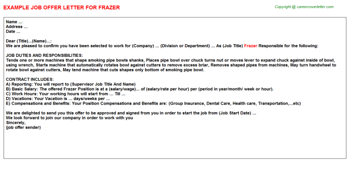 Frazer Offer Letter Template