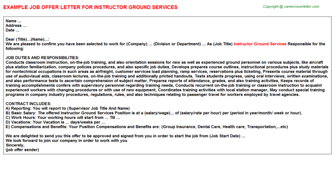 Instructor Ground Services Job Offer Letter Template