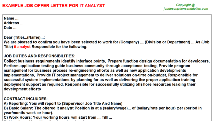 IT Analyst Job Offer Letter Template