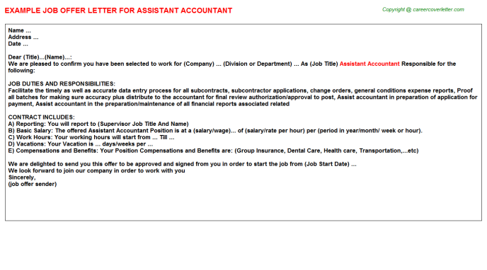 Assistant Accountant Offer Letter Template
