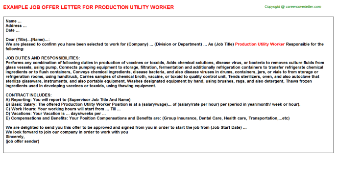 Production Utility Worker Offer Letter Template
