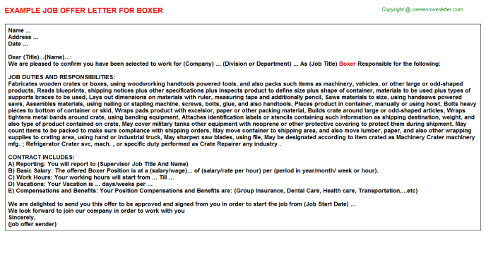 Boxer Job Offer Letter Template